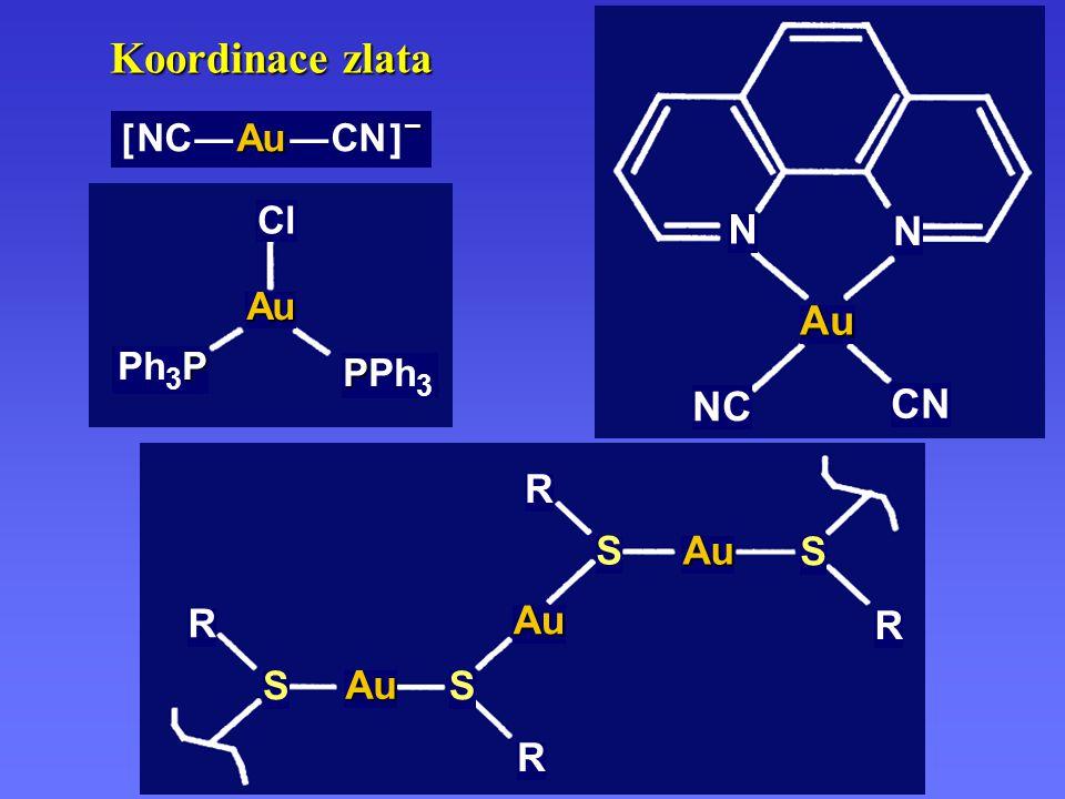 Au NC CN N Koordinace zlata [ NC — Au — CN ] – Au Cl PPh3 Ph3P Au S R